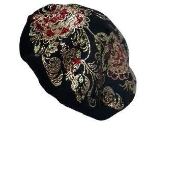 Baroque style 100% wool hat with rh..