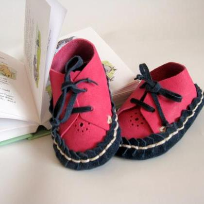 Pink Navy Baby Leather Suede Moccas..
