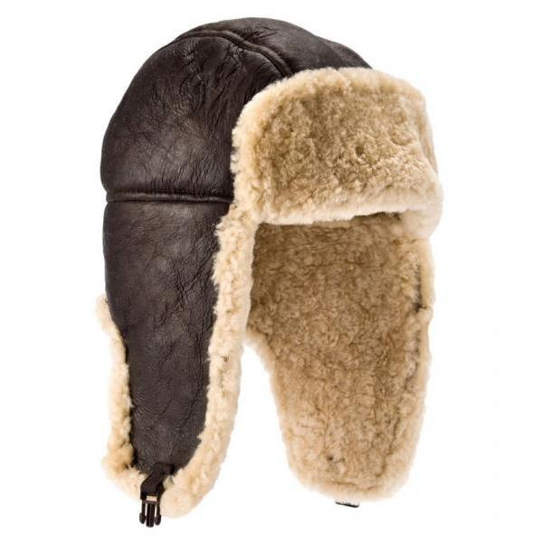 Mens Aviator Sheepskin Hat Sizes M,L,XL
